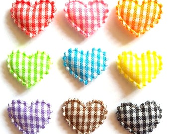 100 pcs Gingham Heart LOVE Padded Appliques Mix colors size 20 mm x 15 mm