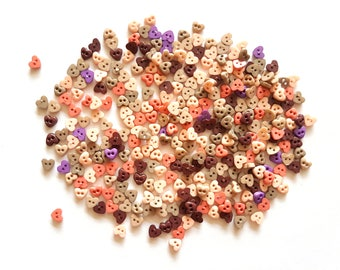 200 pcs Tiny Heart Buttons size 4 mm Mix earth tone