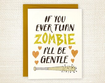 Funny Love Card, Anniversary Card - Gentle Zombie