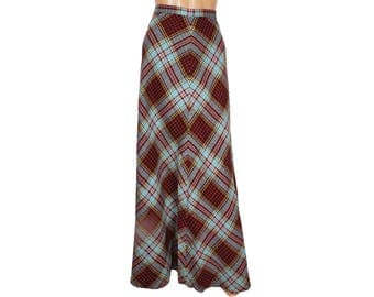 Vintage 1970s Wool Tartan Maxi Skirt - Plaid Skirt - S