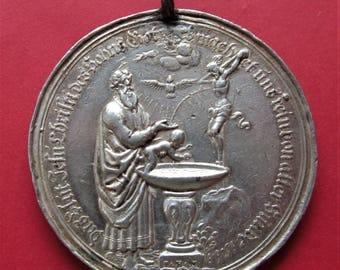 Antique German Jesus Baptism Silver Religious Medal Pendant By Philipp Heinrich Mueller Circa 1690    SS431