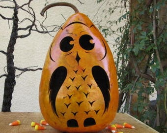 Halloween Gourd Owl Jack O Lantern Primitive Pumpkin Decoration