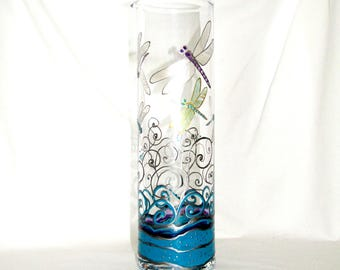 Dragonfly Carafe Hand Painted Glass Martini Pitcher Wine Decanter