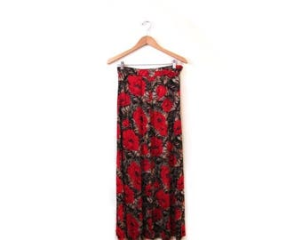 30% OFF Vintage 90s Floral Grunge POPPY Maxi Skirt s m