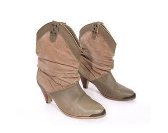 30% OFF SALE Vintage 80s TAUPE Suede and Leather Short Slouchy High Heeled Ankle Boots 6.5 7