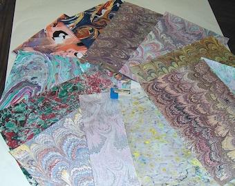 pack 12, hand  marbled paper,, マーブル紙,   marmorpapier.  -  cm 25 x 17,5  -  811