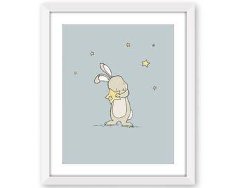Bunny Nursery Art, Bunny Holds Star, Catch A Falling Star, Bunny Art, Woodland Nursery, Children Art, Kids Wall Art, Bunny Nursery Art