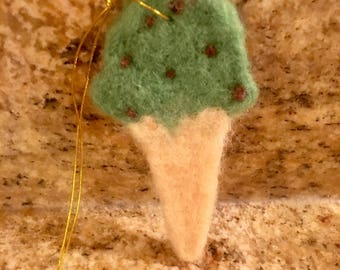 Needle-felted Ice Cream Cone Ornament