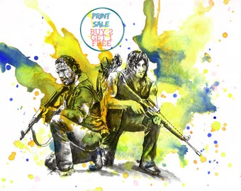 Walking Dead Rick Grimes and Daryl Dixon Poster Print From Original Watercolor Painting - 8 X 10 in. Print The Walking Dead Poster Print