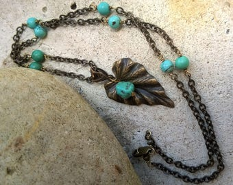 Leaf Brass Turquoise Necklace WOODLAND 'Sky'-Vintaj Brass,Tuquoise necklace,Turquoise beaded jewelry