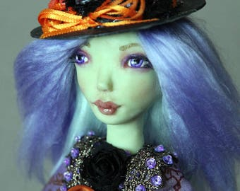 One of a kind art doll Purple Witch Anessa magic spell book