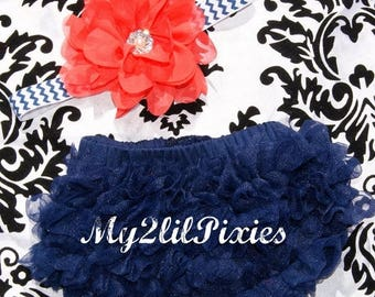 SALE Navy blue Chiffon Ruffle Bum Baby Bloomer and Headband Set Navy Blue and Coral- Choose your Size - Photo Prop- MY2Lilpixies