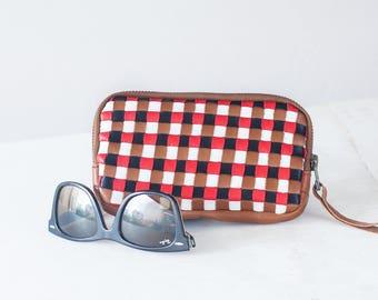 Leather brown handwoven zipper purse, phone case zipper phone case money bag iphone 7 zipper purse zip purse - The Antheia Zipper pouch