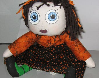 JKW Halloween Handmade Raggedy Ann CobWeb Moon Star Dress Gothic Blue Eyes WiTcH DOLL with Bloomers