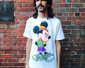 Vintage 90s Hip Hop Mickey Mouse Shirt XL