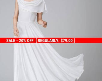 White chiffon dress, maxi dress, wedding dress, prom dress, bridesmaids dress, elegant dress, handmade dress, made to order  1540