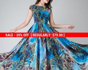 blue floral dress, blue party dress,floral evening gown,Maxi dress ,chiffon dress, women dresses, long dress, Prom dress, cap sleeve (1520)