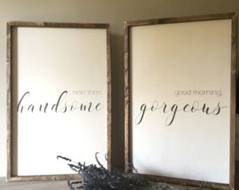 good morning beautiful sign, hello handsome sign, his and hers, framed sign, minimalist decor, fixer upper style sign, romantic sign set
