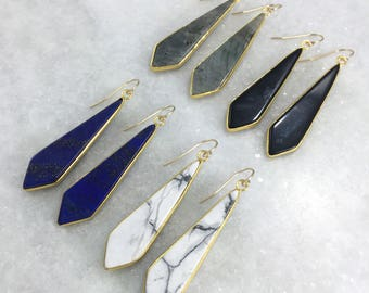 Stone Earrings | Lapis | Labradorite | White Marble | Black Stone | Gold Earrings | Statement Earrings