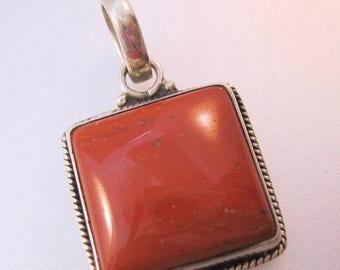 SHIPS 6/26 w/FREE Jewelry Vintage Jasper Sterling Silver Pendant Square Jewelry Jewellery