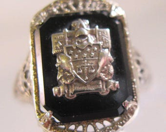 1910s Edwardian 10k Filigree Onyx Shield Ring Art Deco Size 8.5 Signed A & S Unisex Antique Jewelry Jewellery