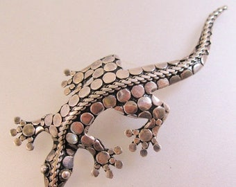 XMAS in JULY SALE Lizard Gecko Sterling Silver Brooch Pin Vintage Jewelry Jewellery