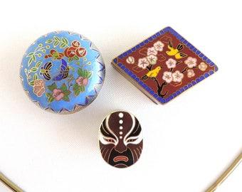 Vintage Cloisonne Enamel Miniature Trinket Box Set of Three, Birds Butterflies Asian Mask, Home Decor