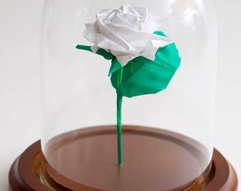 Eternal rose white origami small decorative globe