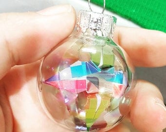 Christmas ornament / Glass ornament / Origami lily ornament / Mini custom color flower ornament