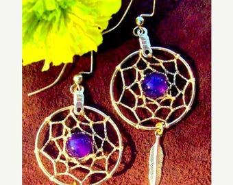 SALE AMETHYST& GOLD Dream catcher earrings, dreamcatcher earrings, dangly gold dream catcher earrings