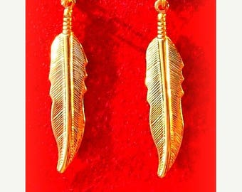 SALE GOLD FEATHER Earrings - Larger size, Tribal, Boho, dangly feather earrings in gold or silver