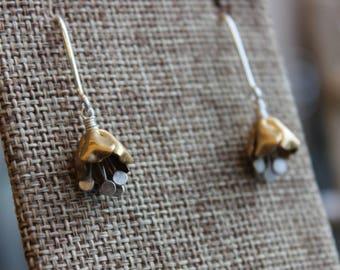 Sweet, Petite Brass and Sterling Flower Earrings