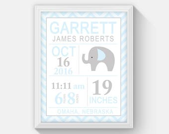 Blue / Gray Elephant Modern Birth announcement print, Statistic, Personalized Birth Statistic Wall Art, Baby Shower Gift, Nursery Wall Print