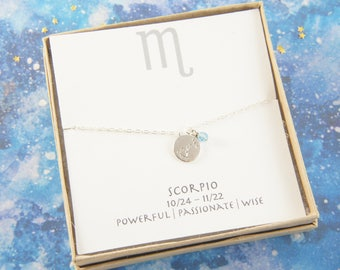 silver zodiac SCORPIO necklace, birthday gift, custom personalized, gift for women girl, minimalist, simple necklace, layered