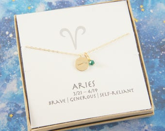 gold zodiac Aries necklace, birthday gift, custom personalized, gift for women girl, minimalist, simple necklace, layered