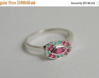 SALE White Gold Marquis Ring, oval gemstone ring, pink and blue gemstone ring, fan style ring, spinel and tourmaline ring, gifts for moms