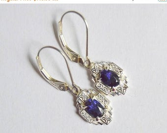 SALE Gotham Dangly Earrings in Argentium Silver, Sterling Silver Dangly Earrings, Hand Engraved with Oval Iolite, Iolite Earrings