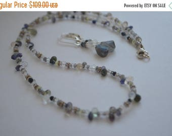 SALE Beaded Iolite, Moonstone, Black Onyx, Labradorite Necklace with Sterling Silver and Free Earrings