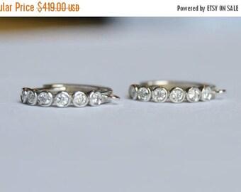 SALE 14 kt white gold leverbacks, diamond leverbacks, diamond bezel earrings, diamond earrings, diamond hoops
