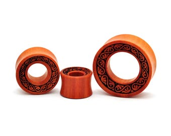Laser Engraved Filigree Saba Wood Tunnels (PW-226) - Sold as a Pair - 5/8, 3/4, 7/8, 1 inch gauges plugs