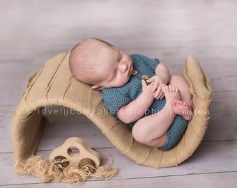 Newborn Button Hoodie, Hooded Romper, Newborn romper. bamboo yarn, newborn photo prop, boy prop, newborn bodysuit Blue, Newborn boy prop
