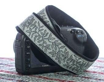 dSLR Camera Strap, Grey Floral, Leaf, Pinstripe, Custom, Photographer Gift, Camera Accessories,  192