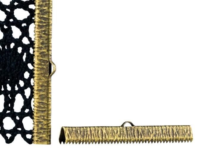 16pcs.  50mm  (2 inch) Antique Bronze Ribbon Clamp End Crimps - Artisan Series