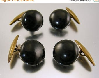 45% off Sale Vintage Black Button Cufflinks Two Pairs