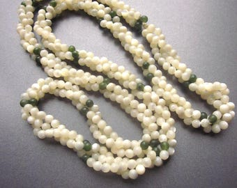 Jade Mother of Pearl Beaded Bayadère Necklace Shell Jewelry MOP