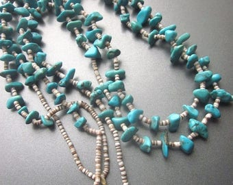 SALE Turquoise Nugget Vintage Necklace Native American Beaded Natural Kingman Turquoise and Heishi Southwest Jewelry