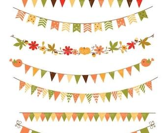 ON SALE bunting Digital Clip art ,Banner Flag Clip art, pumpkins clip art, card making, scrapbooking ,autumn ,printable , Instant Download