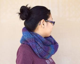 Knit cowl infinity scarf purple shades multicolor gift for her girls scarf gift for friend wool acrylic warm scarf girlfriend gift