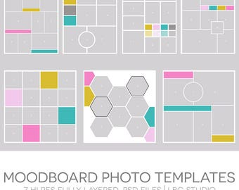 Moodboard Photo Templates - 7 Hi Res Fully Layered Photoshop Templates
