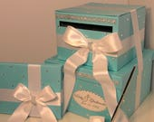 Wedding  Card Box, 3 Sets, 2 tier Blue and White Card Box,Guest book and Pen/Pen Holder.Gift Card Box  Money Box Holder-Customize your color